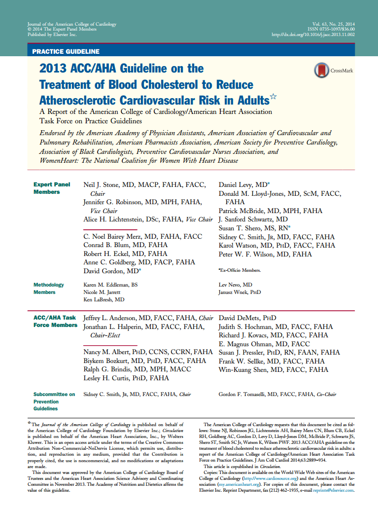 Guideline on theTreatment of Blood Cholesterol to Reduce Atherosclerotic Cardiovascular Risk in Adults. (Journal of the American College of Cardiology, 2014)